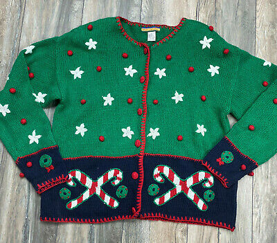 $15.30 • Buy Bryn Connelly Women Size Large Ugly Christmas Cardigan Candy Cane Green Knit