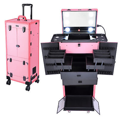 $275.90 • Buy Professional Rolling Makeup Case Led Lights Organizer Cosmetic Travel Box Studio