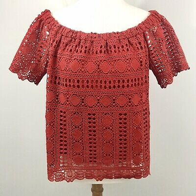 $ CDN32.80 • Buy Anthropologie Sunday In Brooklyn Off Shoulder Lace Top Size M Rust Color Lined