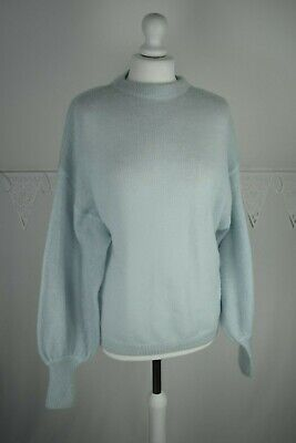 Oliver Bonas Slouchy Light Blue Knitted Jumper Mohair Wool Blend Size 12 • 20£