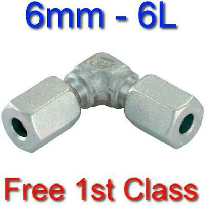 6L EQUAL ELBOW HYDRAULIC COMPRESSION FITTING/COUPLING TUBE PIPE JOINER 6mm • 8.21£