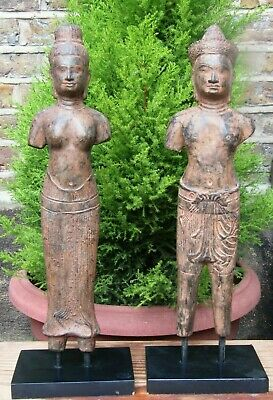 Antique/vintage Buddha Buddhism Bronze Two Standing Statues Figurine. • 310£