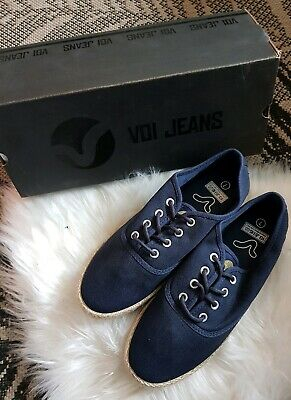 Voi Jeans Fiery Rope Navy Pumps Trainers Shoes Uk 7 Eur 41 NEW BOXED Canvas Rope • 23£