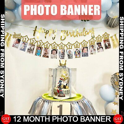 AU9.99 • Buy Baby 1st Birthday Recording Banner 1-12 Month Boy Girl Party Photo Bunting Decor