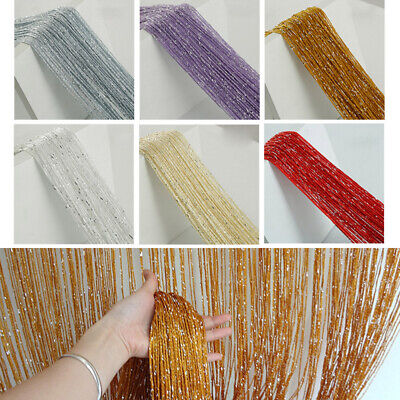 £3.99 • Buy Glitter String Curtain Panels Door Fly Screen Room Divider Voile Net Curtains