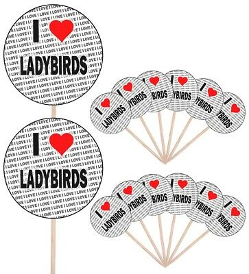 I Love Ladybirds Party Food Cup Cake Picks Sticks Flags Decorations Toppers • 4.99£