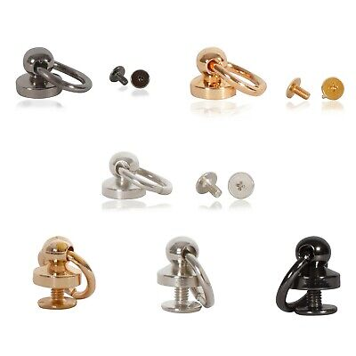 £3.49 • Buy 9.5mm Ball Post With Swivel O Ring Rivet Stud Nail Round Head Chicago Screw Back