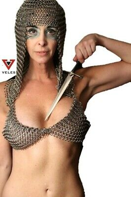 Medieval Viking Chain Mail Bra + Hood Knight Clothing Mild Steel For Reenactment • 38.65£
