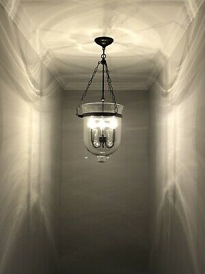 $199.99 • Buy Rustic 3 Candle Light Clear Glass Bell Jar Shade Ceiling Suspended Pendant Light
