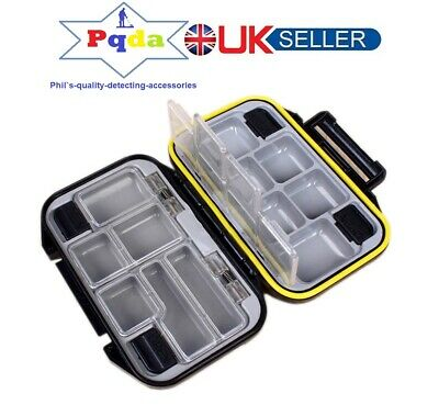 Metal Detecting DELUXE Small Finds Box,Tough Double Sided, 12 Compartments Black • 9.99£