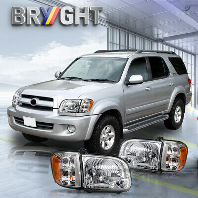 $125.99 • Buy For 2005-2006 Toyota Tundra 05-07 Sequoia Chrome Headlights Assembly Lamps LH+RH