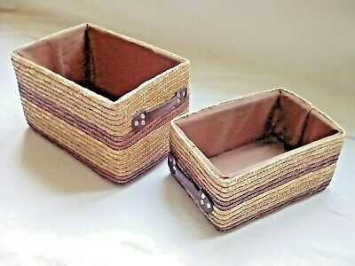 Natural Woven Wicker, Golden Maize & Brown Coloured Lined Storage Baskets Set 2 • 14.99£