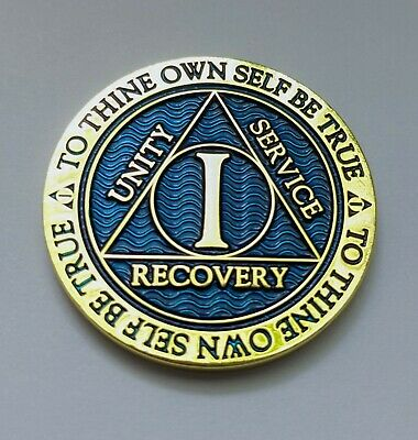 $8.99 • Buy 1 Year Sobriety Chip Alcoholics Anonymous Gold Plated Blue AA Coin Medallion