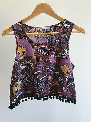 AU28 • Buy Urban Outfitters One & Only Womens Sz S Purple Paisley Embellished Crop Top EUC
