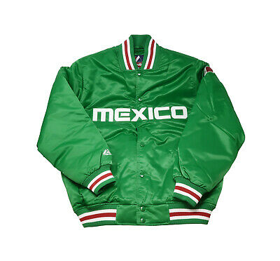 $55 • Buy Majestic Men Size Jacket Mexico Flag Green Satin Green Red White