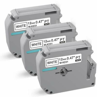 $8.22 • Buy 3 PK M-K231 MK-231 Label Tape Compatible With Brother P-touch Label Maker 12mm..