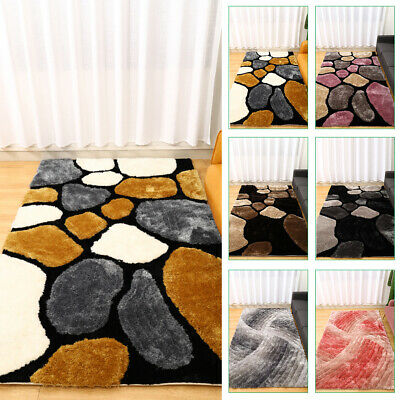 Modern 3D Shaggy Deep Pile Pebbles/Swirl Design Thick Mat Rug Carpet Super Soft • 119.95£