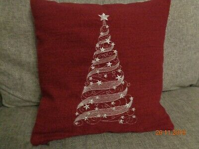 16  Wine Machine Embroidered Silver 'christmas Tree' Cushion Cover - New - • 11.99£