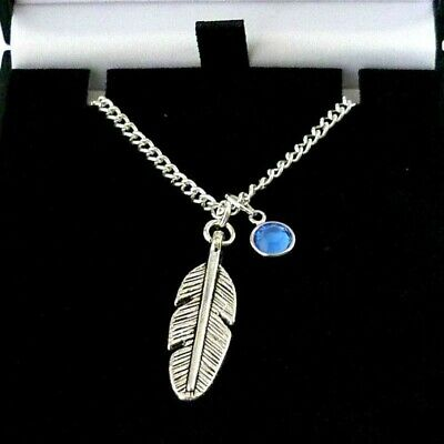 Silver Feather Necklace With ANY Birthstone, Great Quality, Gift Boxed • 8.99£