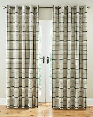 £79.99 • Buy Hudson Grey Multi Checked Tartan Ring Top Pair Of Lined Curtains Highland Design