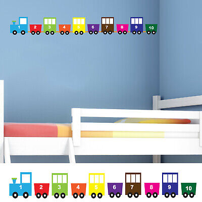 Childrens/Kids Bedroom Wall Train Carriage Boys Multi Numbers Sticker Decal  • 9.99£