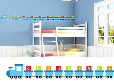 Childrens/Kids Bedroom Wall Train Carriage Boys Blue Alphabet Sticker Decal  • 13.99£
