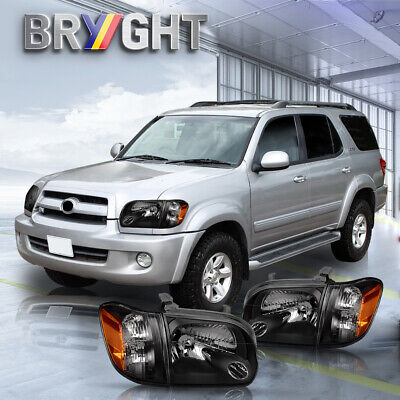 $120.99 • Buy For 2005-2006 Toyota Tundra 05-07 Sequoia Black Headlights Assembly Corner Lamps