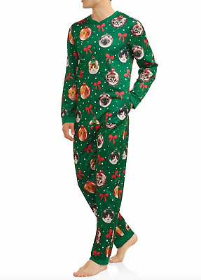$28 • Buy Cats Christmas Pajamas Mens Kitty L Footy Jumper Zip Light Up Ugly One Piece