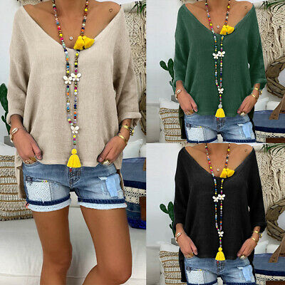 AU8.33 • Buy Plus Size Women Loose V Neck Shirt Ladies Baggy Long Sleeve Casual Blouse Tops