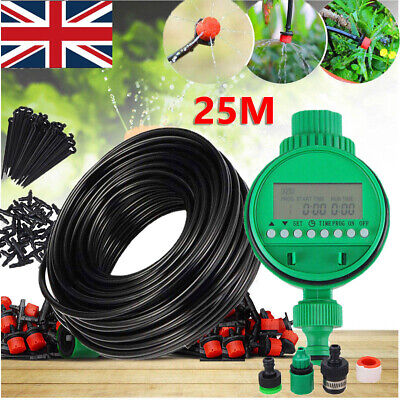 25M Automatic Drip Irrigation System Kit Plant +Timer Self Watering Garden Hose • 14.99£