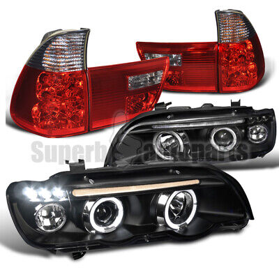 $249.81 • Buy For 2001-2003 BMW E53 X5 LED Halo Projector Headlights+Tail Lights Red/ Smoke