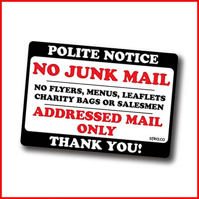 Stika.co Polite Notice No Junk Mail Flyers Leaflets Menus, 10x7cm, Door Sticker • 3.30£