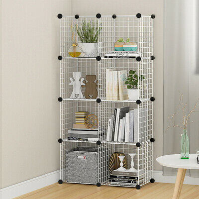 AU46.23 • Buy 8 Cube Storage Shelf Rack DIY Wire Grid Bookcase Display Cabinet Shelving