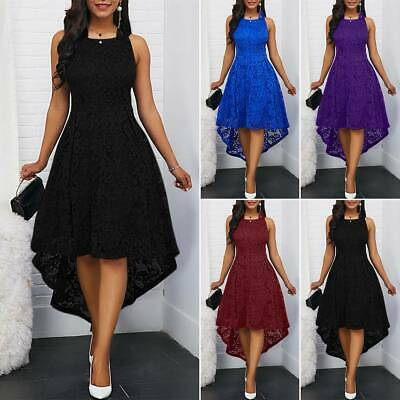 Women Lace A-Line Sleeveless High Low Slim Party Cocktail Midi Dress Plus Size • 13.96£