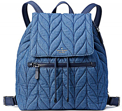 $ CDN197.72 • Buy BNWTS Kate Spade Ellie Large Flap BLUE Denim Backpack SUPER CUTE