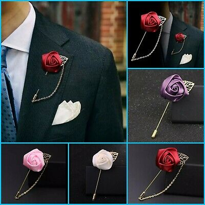 Unisex Wedding Flower Corsage Lapel Pin Brooch Suits Boutonniere Suit Stick Pins • 3.49£