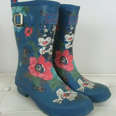 Joules Molly Welly Waterproof Pull-On Mid-Calf Rain Boots Women 9 M Navy Floral~ • 34.99$