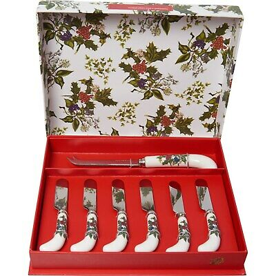 Orig $52: Portmeirion Holly And Ivy Porcelain Cheese Knife Spreaders Gift Set • 26$