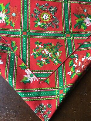 """$ CDN19.62 • Buy Vintage Christmas Tablecloth 48"""" Square Red Printed Mistletoe Holly"""