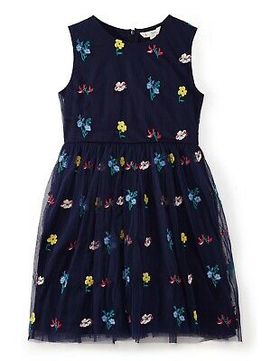 Yumi Girl Floral Embroidered Mesh Dress Navy 7-8 YEARS BNWT FREE P&P • 27.03£