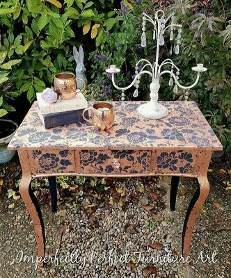 Shabby Chic Rose Gold Leaf Gilded Console Desk Table Paint/stencil Annie Sloan • 90£