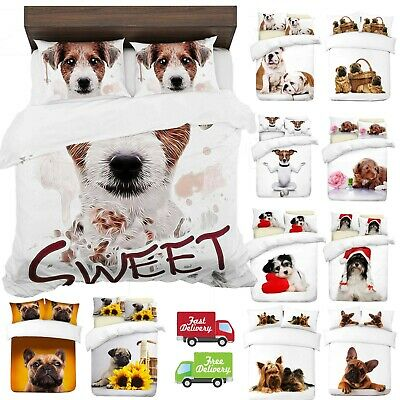 UK Made 3D Duvet Quilt Cover With Pillowcases New Dogs Design Digital Print • 21.99£