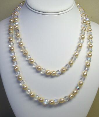 Joan Rivers Gold Ep Crystal Faceted Fire Polish Bead & Pearl 36  Necklace New • 22.49$
