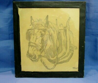Vintage 1930's Signed Pencil Drawing Shire Horse Harness Animal 8  X 8  Glass • 30£
