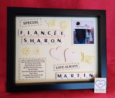 FIANCEE Personalised GIFT FRAME Picture CHRISTMAS BIRTHDAY VALENTINE SCRABBLE  • 22.99£