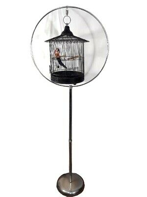 $239.96 • Buy Bird Cage Free Standing With Chrome Circular Stand 67  Tall Black Vintage