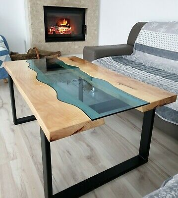 Lovely River Coffe Table Beautiful Ash Live Edge River Wood Glass Blue Hadmade • 499£