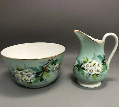 Victorian English 19thC Milk Jug & Slop Bowl Turquoise & White Hawthorn Blossom • 15£
