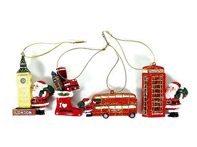 £9.99 • Buy Christmas Decorations With Iconic London Theme, Set Of 4