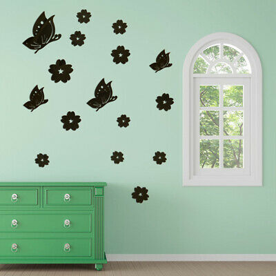 3D Wall Stickers Mirror Butterfly Shaped Home Wall Acrylic Living Room Decor 6A • 3.12£